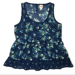 Mossimo Supply Co Sheer Floral Ruffle Tank Top